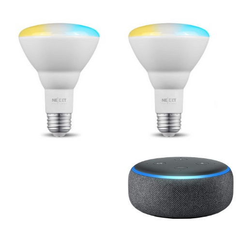 Combo Bombillo de Luz Blanca Regulable Nexxt Solutions Connectivity NHB-W2 + Altavoz Inteligente Amazon Echo Dot Alexa 3