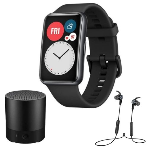 Combo Parlante Huawei CM510 Portátil Negro-CORAL + Audífonos Huawei AM61 Sport + SmartWatch Huawei Watch Fit Negro