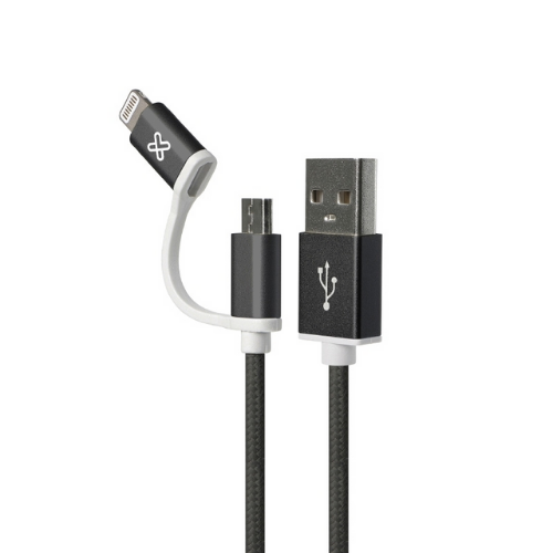 [INT3965] Cable USB 2 en 1 Apple Lightning / Micro-USB Tipo B 1 m Negro Klip Xtreme