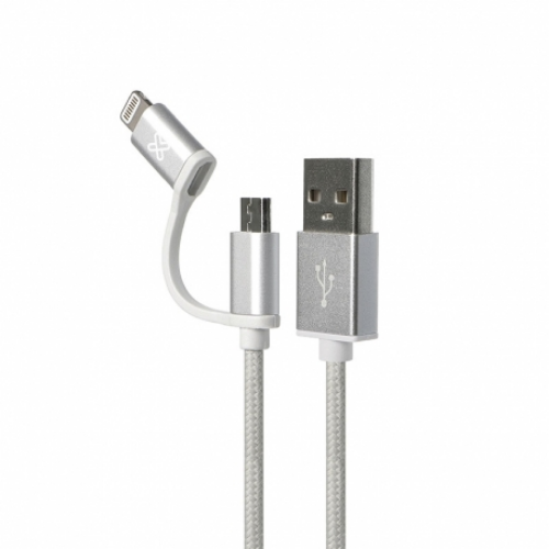 [INT3966] Cable USB 2 en 1 Apple Lightning / Micro-USB Tipo B 1m Plata Klip Xtreme